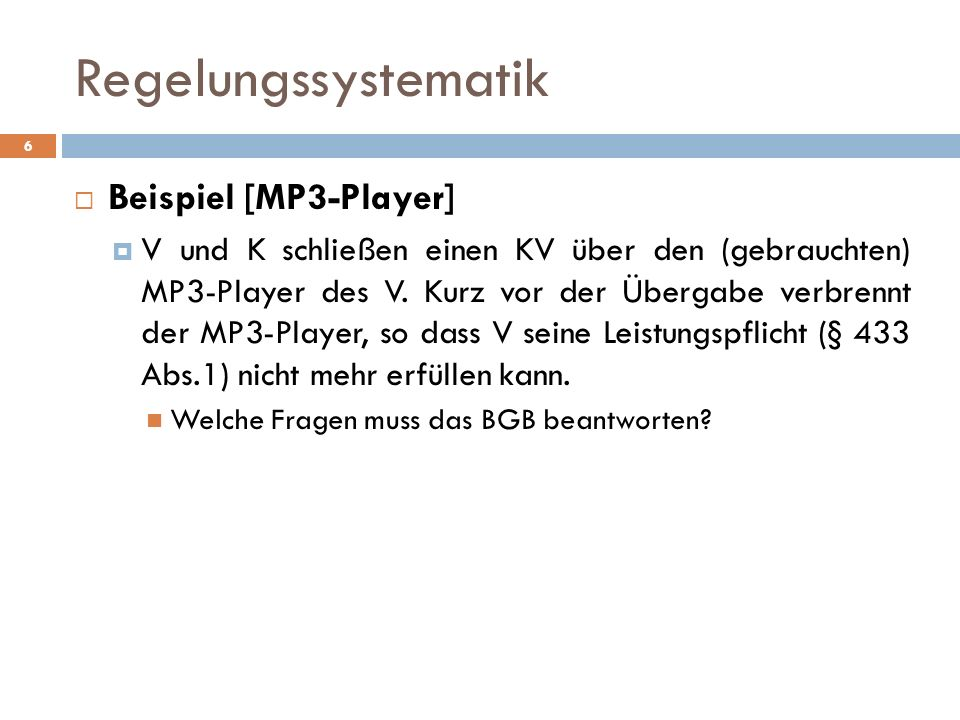 Regelungssystematik Beispiel [MP3-Player]